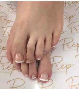 Prep white french gel pedicure vanicity