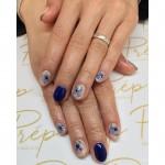 Blue nails with blue floral details