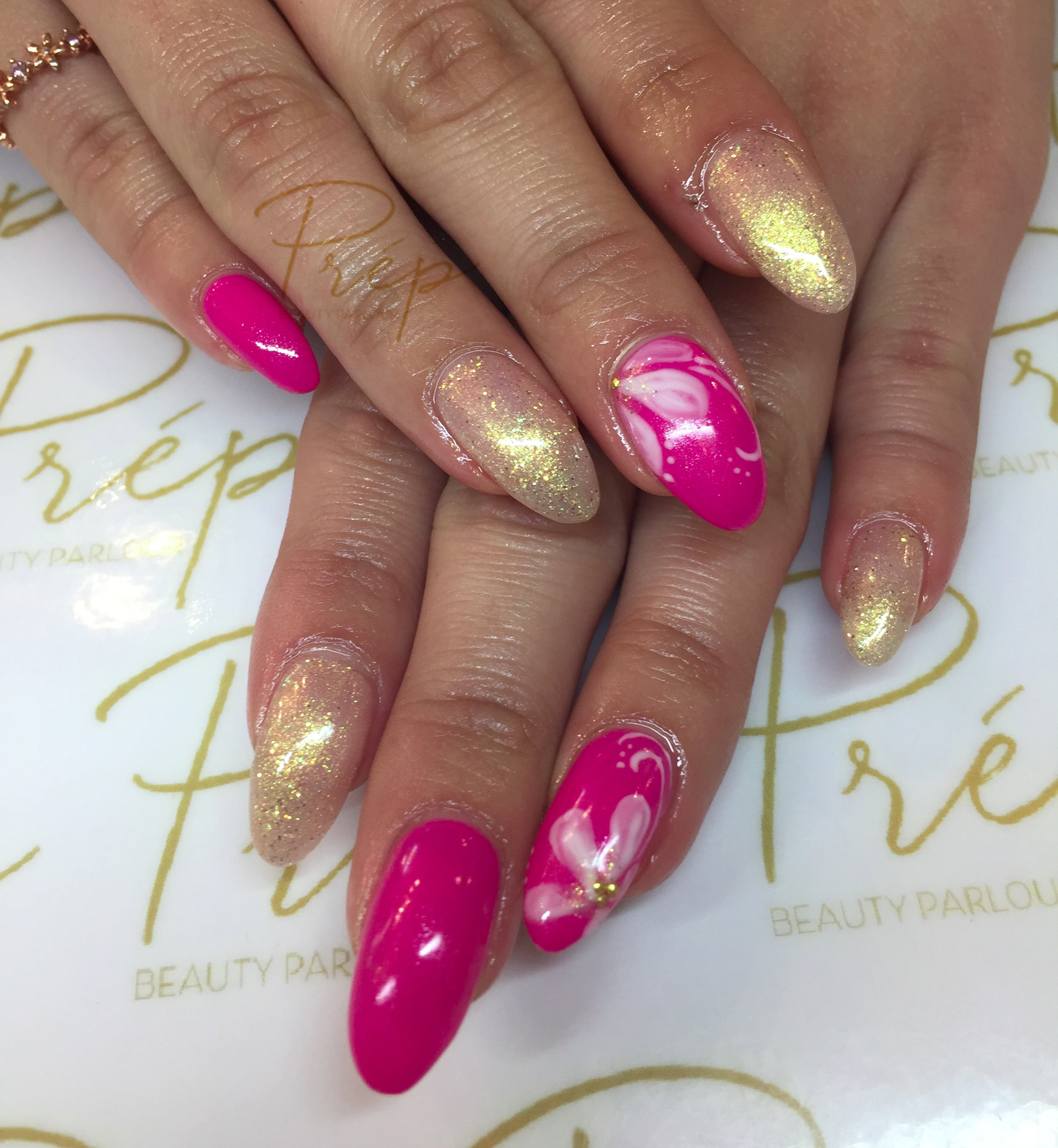 Floral Pink Long Gel Extension Vancouver| Prép Beauty Parlour
