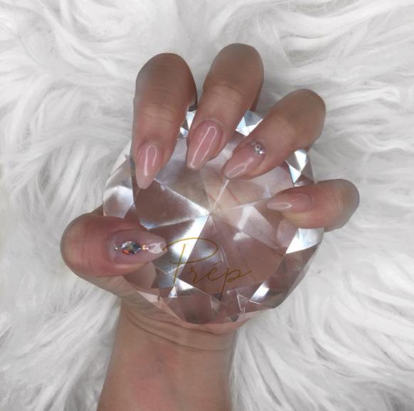 Sheer Pink Gel Extensions Manicure W/ Gems Vancouver | Prép Beauty Parlour